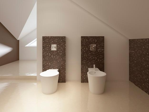 Туалет и биде в современном стиле, стена в коричневой мозаичной плитке. 3d рендеринг