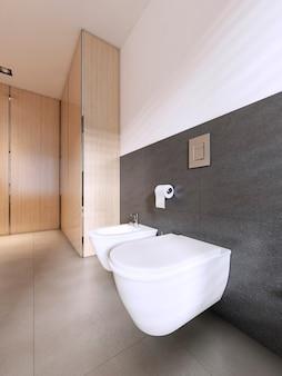 Туалет и биде современная ванная в скандинавском стиле. 3d рендеринг