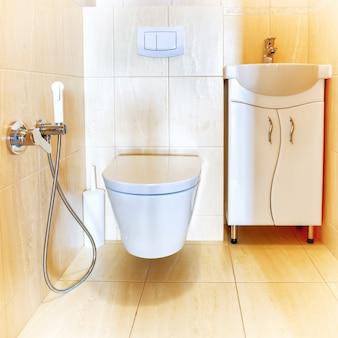 Toilet bathroom interior with white ceramic seat