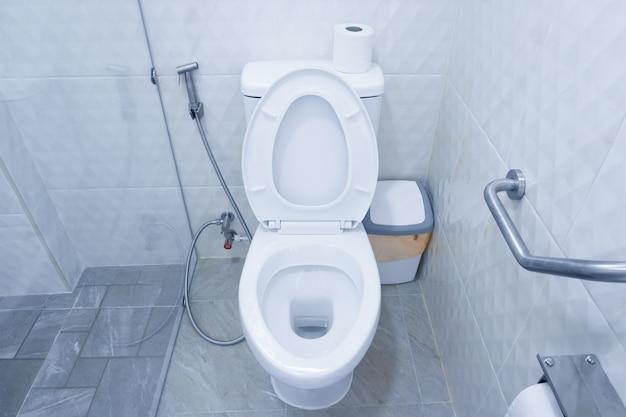 Унитаз в современной ванной комнате с мусорными ведрами и туалетной бумагой, унитаз смывной чистой ванной