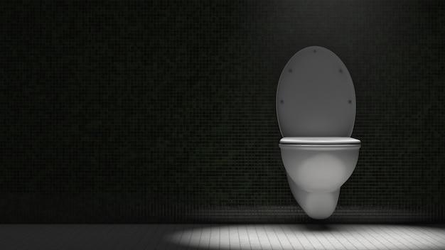 トイレの便器。劇的な照明。スペースをコピーします。