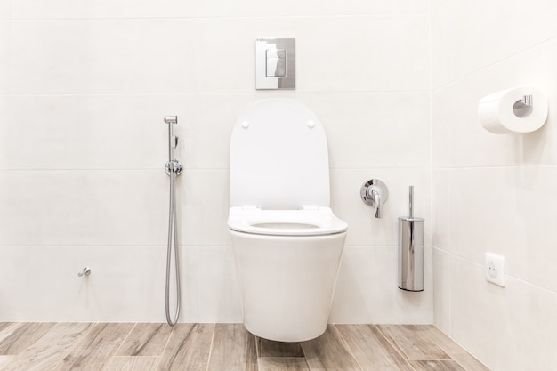 Toilet bowl in modern bathroom