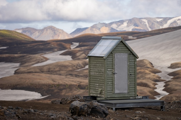 Toilet in the camping on the slope of the volcano in iceland