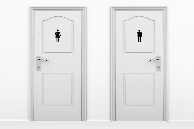 灰色の鍵の男性と女性の性別のためのトイレのドア