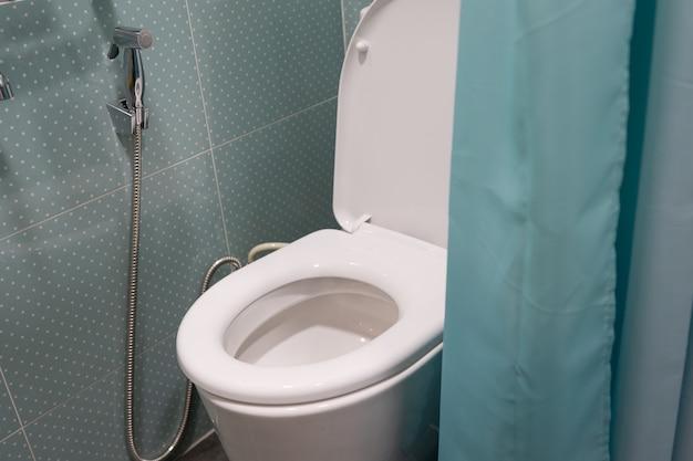 Керамическая чаша смыва унитаза с зеленой занавеской в ванной комнате.