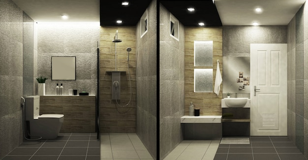 Toilet loft style tiles two tone interior design. 3d rendering