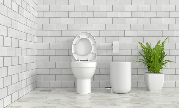 Toilet and ornamental plants, 3d rendering