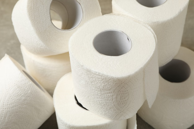 Toilet paper on brown table, close up