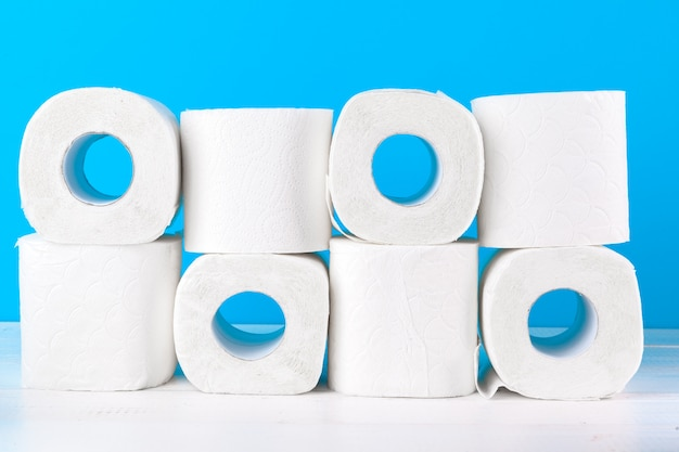 Toilet paper. close up shot on blue background
