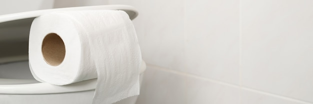The toilet paper is on the toilet flush at home.