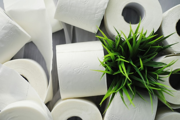 Toilet paper in a roll. snow-white soft three-layer toilet paper. lack of hygiene products. primary protection and disinfection.
