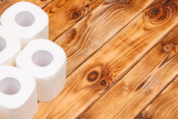 Toilet paper rolls top view