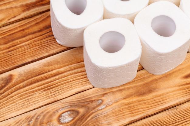 Toilet paper rolls on wooden top view