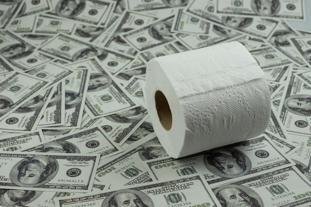 화장지 티슈와 스택 100 달러 지폐의 돈