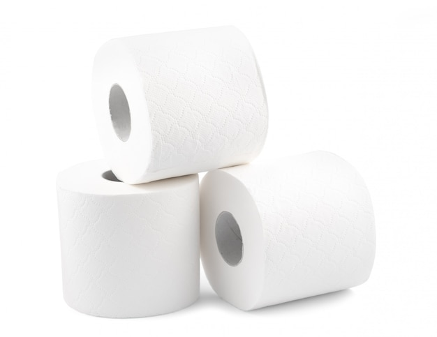 Toilet paper on the white surface