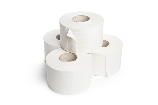 Toilet paper on white
