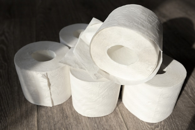 Toilet paper on wood