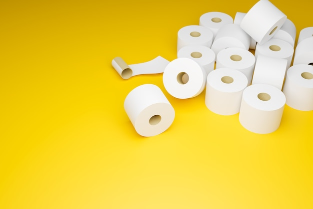 Toilet paper on yellow background, panic buying toilet paper i and out of stock because of covid-19 outbreak and lockdown, 3d illustrations rendering