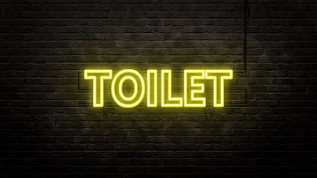 Toilet sign emblem in neon style on brick wall background