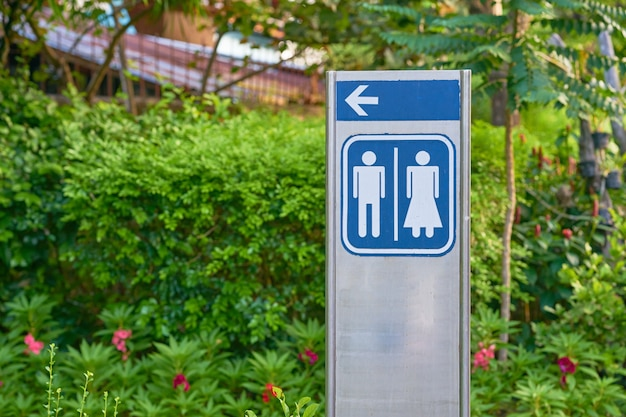 Toilet sign outdoors with nature background
