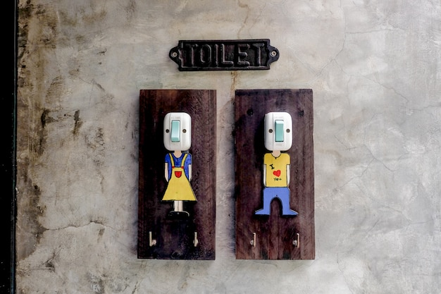 Toilet vintage switch lighting fixture, symbol of boy and gril cute switch lighting fixture