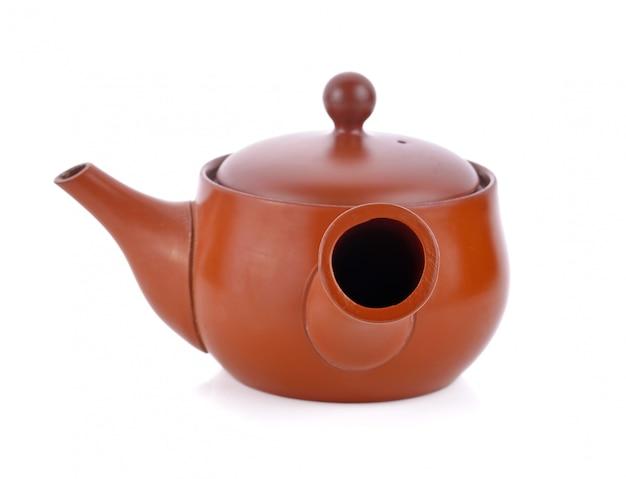 Tokoname kyusu, japanese teapot on white
