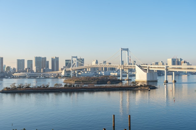 Tokyo bay with view of rainbow bridge in tokyo city, japan.