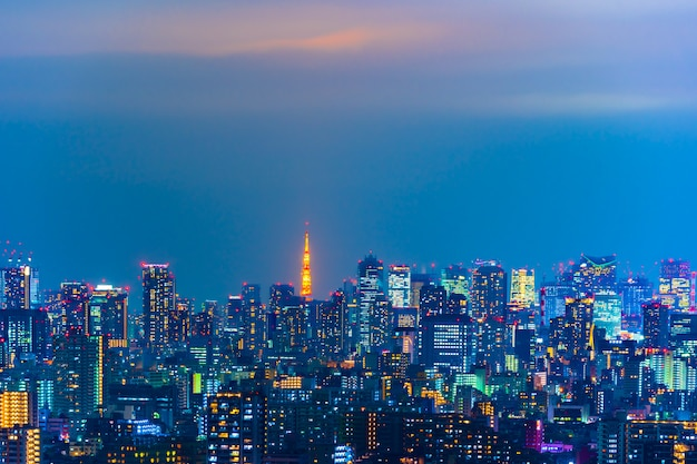 Tokyo city at night, view from tower hall funabori observatory deck