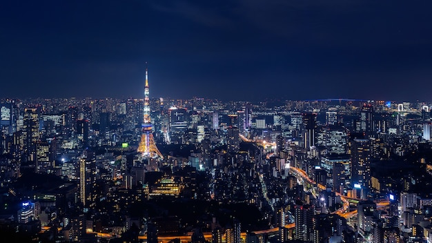 Tokyo cityscape at night, japan.