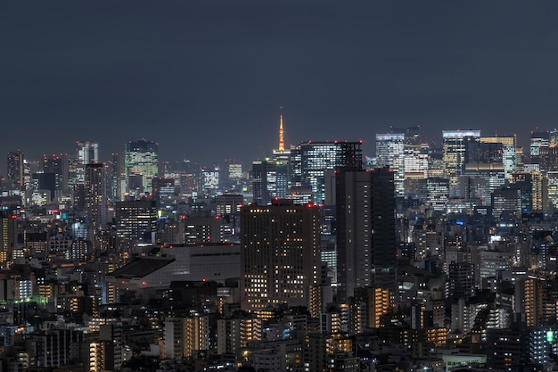 Tokyo cityscape which can see tokyo tower in far away, taking from tokyo sky tree east, japan