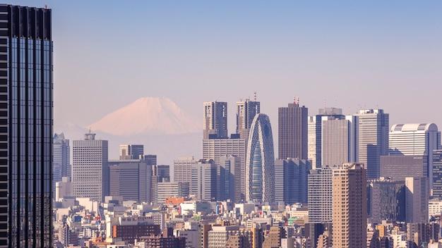 東京、日本-2016年2月11日:日本の東京で2016年2月11日に富士山を背景に日本の東京の街並み。