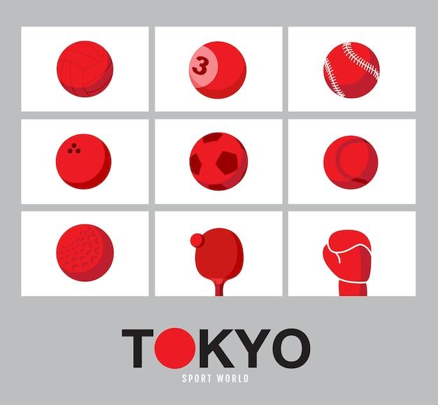 東京、日本の旗のコンセプト、スポーツ用品の背景、世界のゲーム。