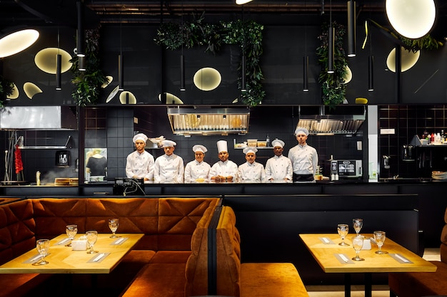 Tokyo, japan - january 09, 2018: chefs are cooking in the restaurant the most popular delicious japanese snack food in japan.