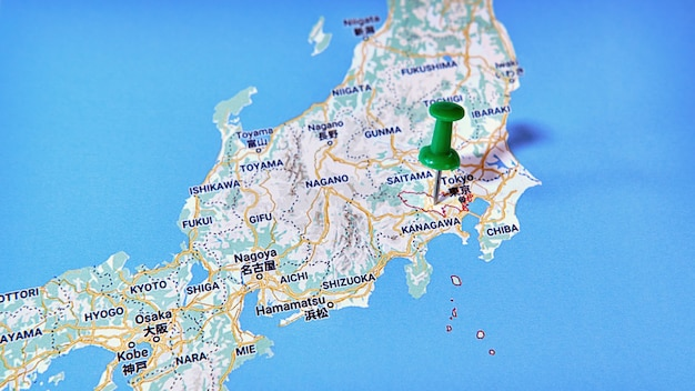 Tokyo, japan on a map showing a colored pin