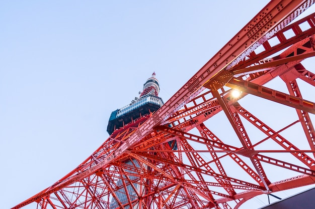 Tokyo tower, a major tourist attraction in kanto region, tokyo, japan. looking from bottom