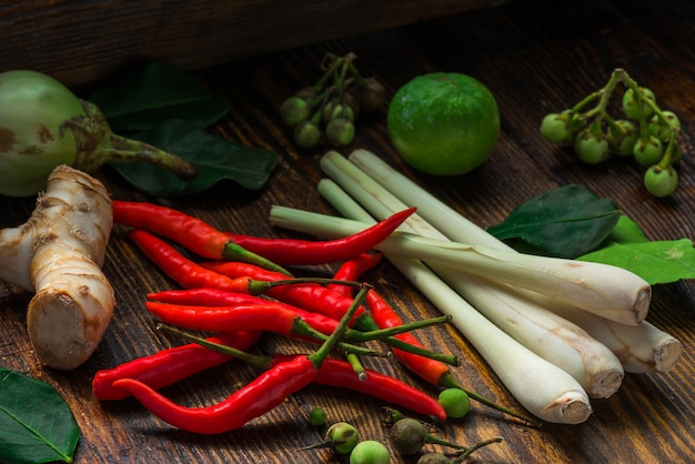Tom yam ingredients for thai cuisine