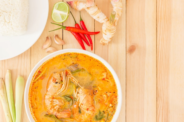 Tom yam kong or tom yum, is a spicy clear soup typical in thailand