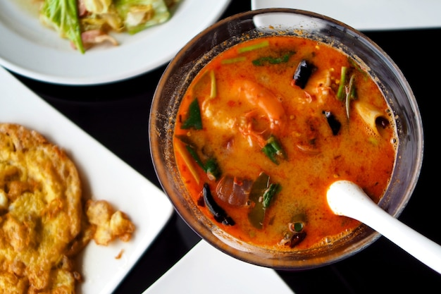 Tom yam spicy seafood soup