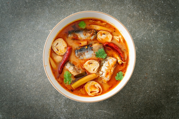 Tom yum canned mackerel in spicy soup - asian food style
