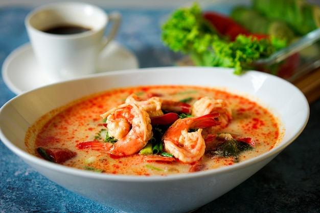 Tom yum goong or boiled shrimp spicy thai food in a bowl