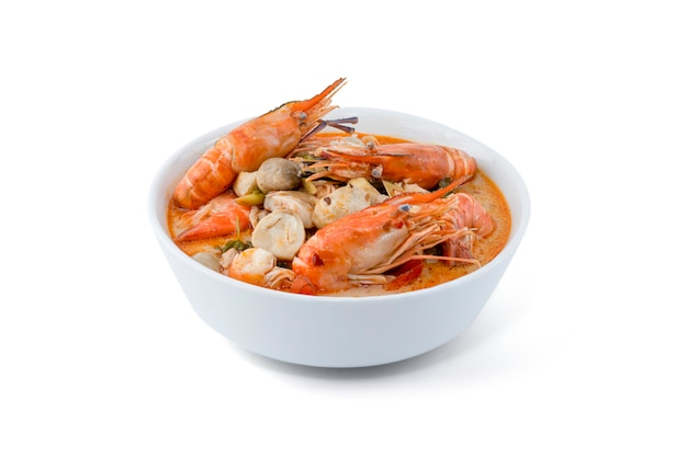 Tom yum goong spicy sour soup isolated on white