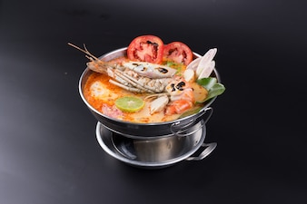 Tom yum goong spicy Thai seafood soup
