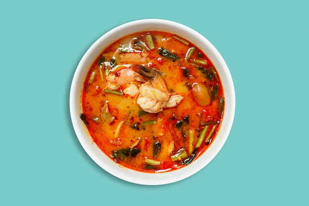 Tom yum kung thai hot spicy soup shrimp with lemon grass, pastel background