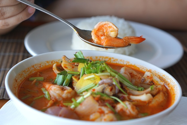 Tom yum kung or tom yum goong thai dish