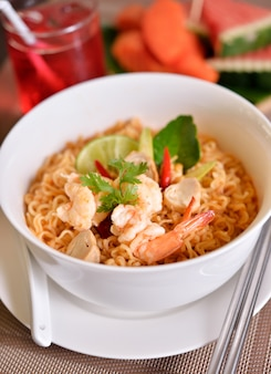 Tom yum kung with noodles, thai food