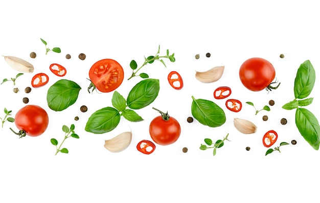 Tomato, basil, spices, chili pepper, onion, garlic. vegan diet food, creative composition isolated on white. fresh basil, herb, tomatoes pattern layout, cooking concept, top view. banner.