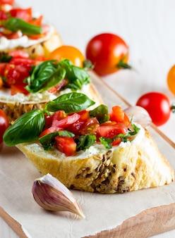 Tomato and cheese fresh made bruschetta.