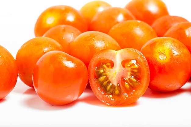 Tomato cherry isolated on white background. macro photograpy