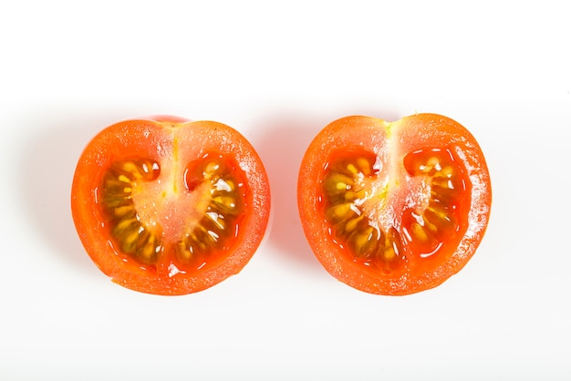 Tomato cherry isolated on white background. top view. macro photography