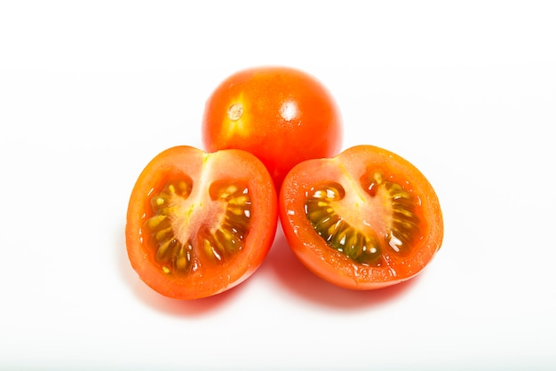 Tomato cherry isolated on white background. top view. macro photograpy
